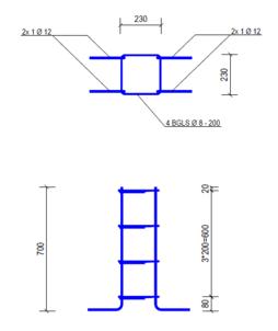 Poer 700 x 230 x 230 | Ø12
